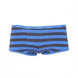 Shorty Mariner en coton stretch à rayures gris anthracite chiné et bleu électrique