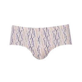 Slip taille haute Mariner en coton beige à motifs bleus et beiges
