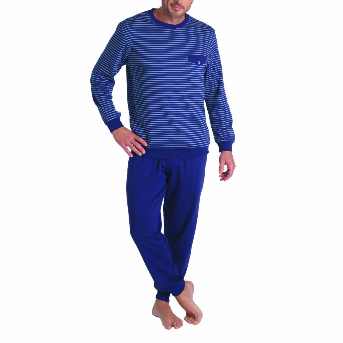 pyjama long eminence en coton haut col rond ray bleu marine et bleu clair pantalon jogging. Black Bedroom Furniture Sets. Home Design Ideas