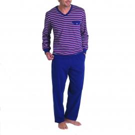 Pyjama long droit Eminence en coton : Haut col V rayé bleu marine, blanc et bordeaux, pantalon bleu marine