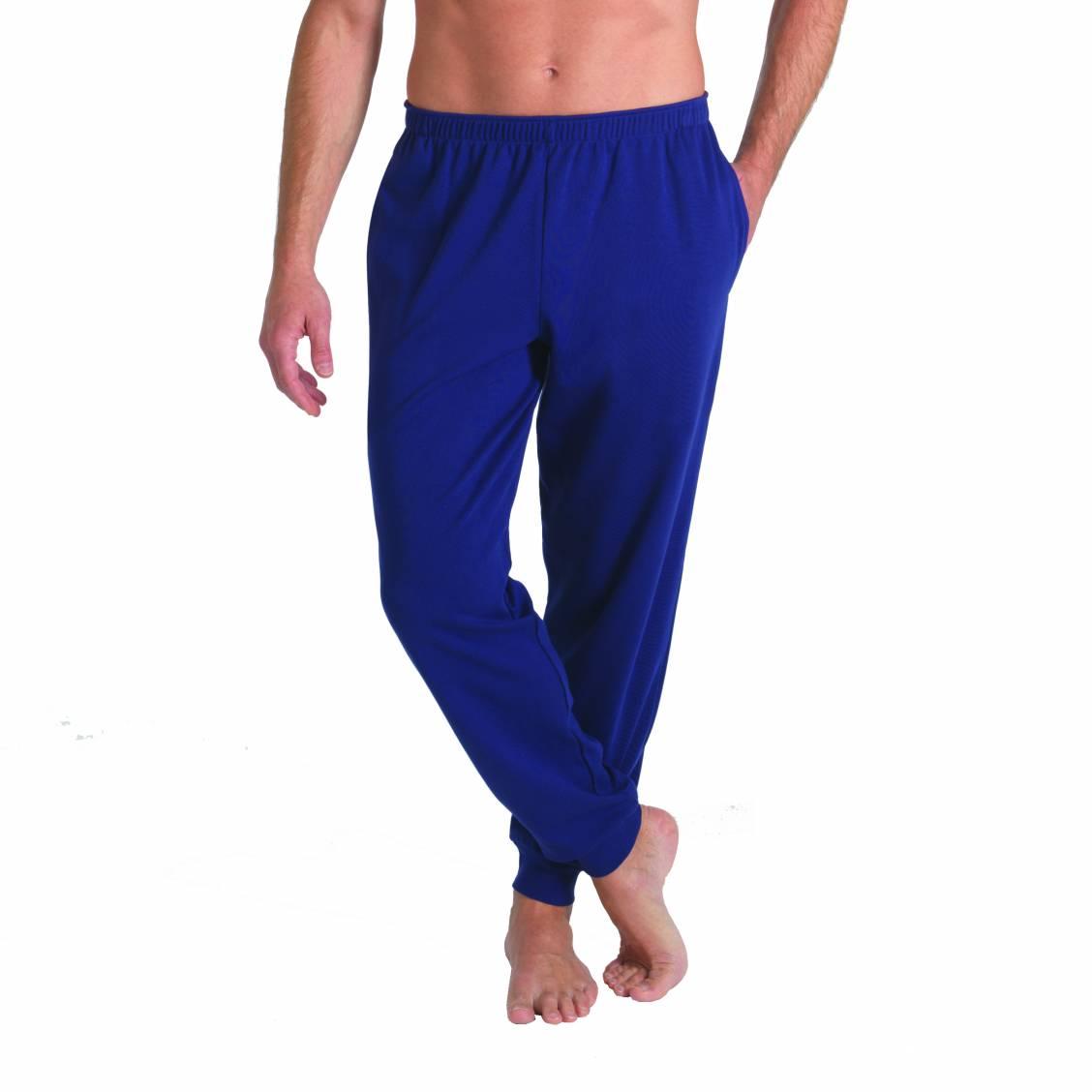 pantalon d 39 int rieur eminence en coton bleu marine rue des hommes. Black Bedroom Furniture Sets. Home Design Ideas