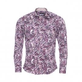 Chemise cintrée Méadrine en coton à motifs cachemire parme, violets, beige et aubergine