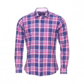 Chemise cintrée Meadrine en coton à carreaux blancs, bleu marine et roses