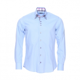 Chemise cintrée Toldot en coton bleu ciel à double col et opposition à carreaux