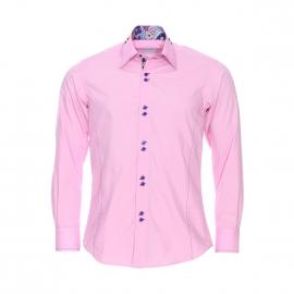 Chemise cintrée Toldot en coton rose pâle, opposition bleu marine à motifs cachemire