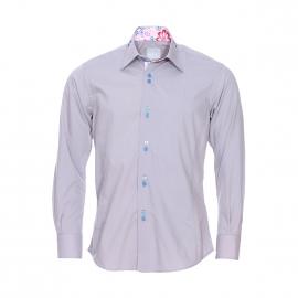 Chemise cintrée Toldot en coton gris à opposition rose pâle à fleurs