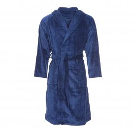 Peignoir de bain bi-matière Texas Vossen en coton bleu marine à capuche