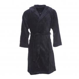 Peignoir de bain bi-matière Texas Vossen en coton noir à capuche