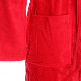 Peignoir de bain bi-matière Texas Vossen en coton rouge vif à capuche