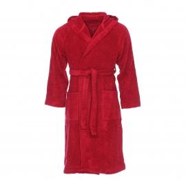Peignoir de bain éponge Sydney Supersoft Vossen en coton rouge foncé à capuche