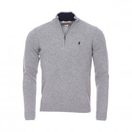 Pull col montant zippé MCS en laine gris clair chiné