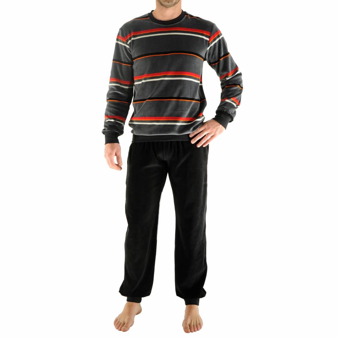 pyjama jogging gao christian cane en velours sweat col rond gris rayures et pantalon noir. Black Bedroom Furniture Sets. Home Design Ideas