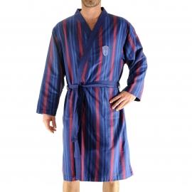 Kimono long Gary Christian Cane en coton bleu marine à rayures rouges et bleues