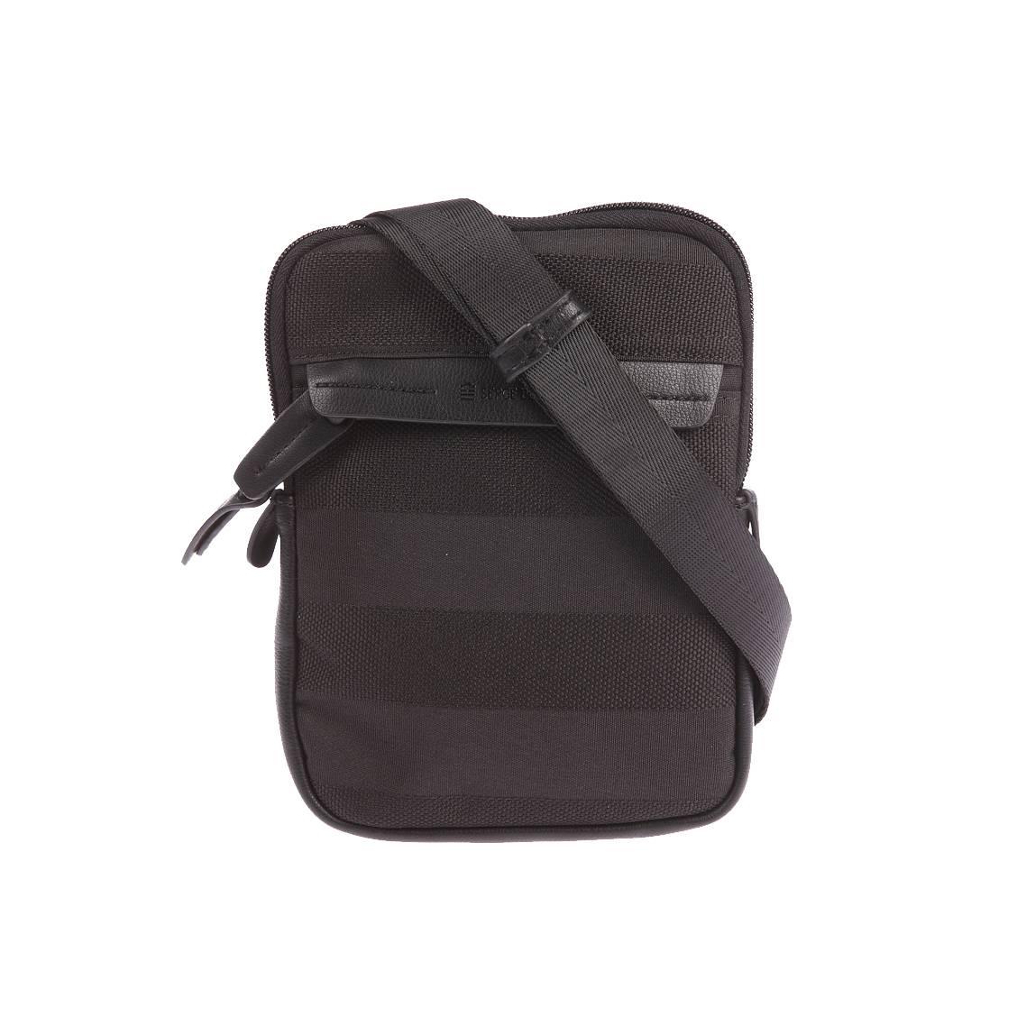 Petite sacoche zippée Serge Blanco noire à rayures ton sur ton. Polyester (100%)Noire - Rayures ton sur ton - Doublure intérieure