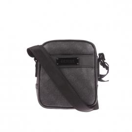 Petite sacoche zippée Guess en simili-cuir noir monogrammé du logo en gris
