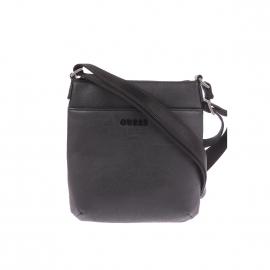 Sacoche plate zippée Guess en simili-cuir noir texturé