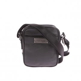 Petite sacoche zippée Guess noire texturée
