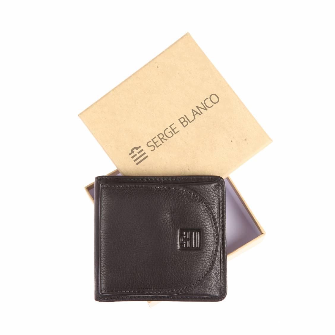 Portefeuille italien serge blanco 2 volets en cuir noir porte monnaie ext rieur rue des hommes for Porte exterieur noir