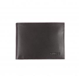 Portefeuille italien Guess 2 volets en cuir lisse noir