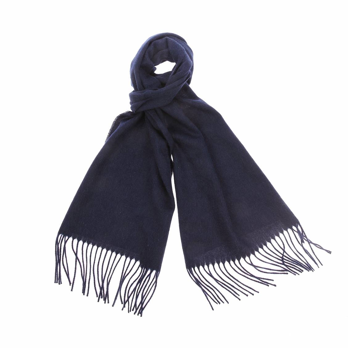 Echarpe jean chatel en laine bleu marine