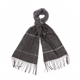 Echarpe douce Jean Chatel à carreaux gris clair et gris foncé