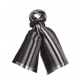 Echarpe Jean Chatel en laine vierge noire à rayures grises et écrues