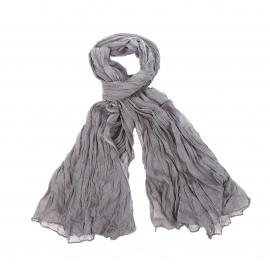 Chèche Pierre Cardin en coton gris, effet froissé