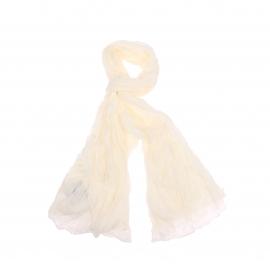 Chèche Pierre Cardin en coton blanc, effet froissé