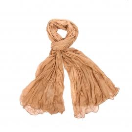 Chèche Pierre Cardin en coton camel, effet froissé