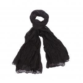 Chèche Pierre Cardin en coton noir, effet froissé