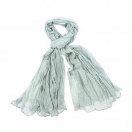 Chèche Pierre Cardin en coton vert clair, effet froissé