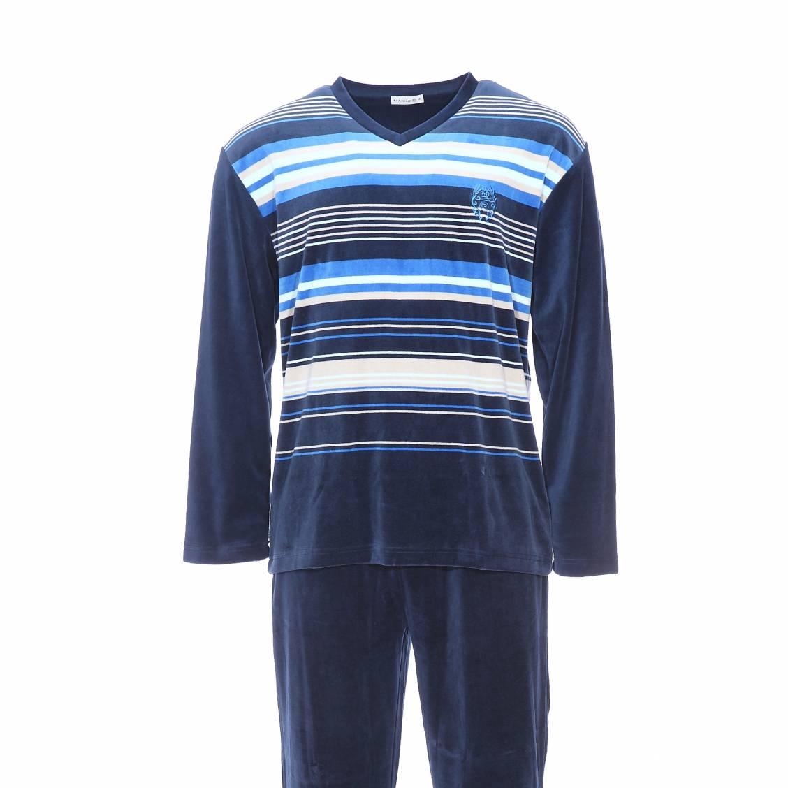 pyjama en velours mariner sweat col v bleu marine rayures bleues beiges et cr me pantalon. Black Bedroom Furniture Sets. Home Design Ideas