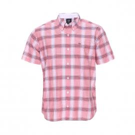 Chemise manches courtes Chevia TBS à carreaux saumon, blancs et bleus, coupe droite
