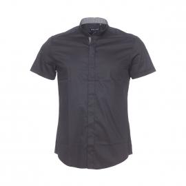 Chemise cintrée manches courtes Antony Morato en coton stretch noir à col mao