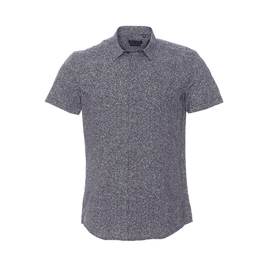 Chemise cintrée manches courtes  noire à motifs blancs