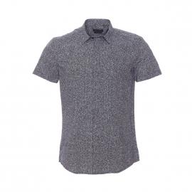 Chemise cintrée manches courtes Antony Morato noire à motifs blancs
