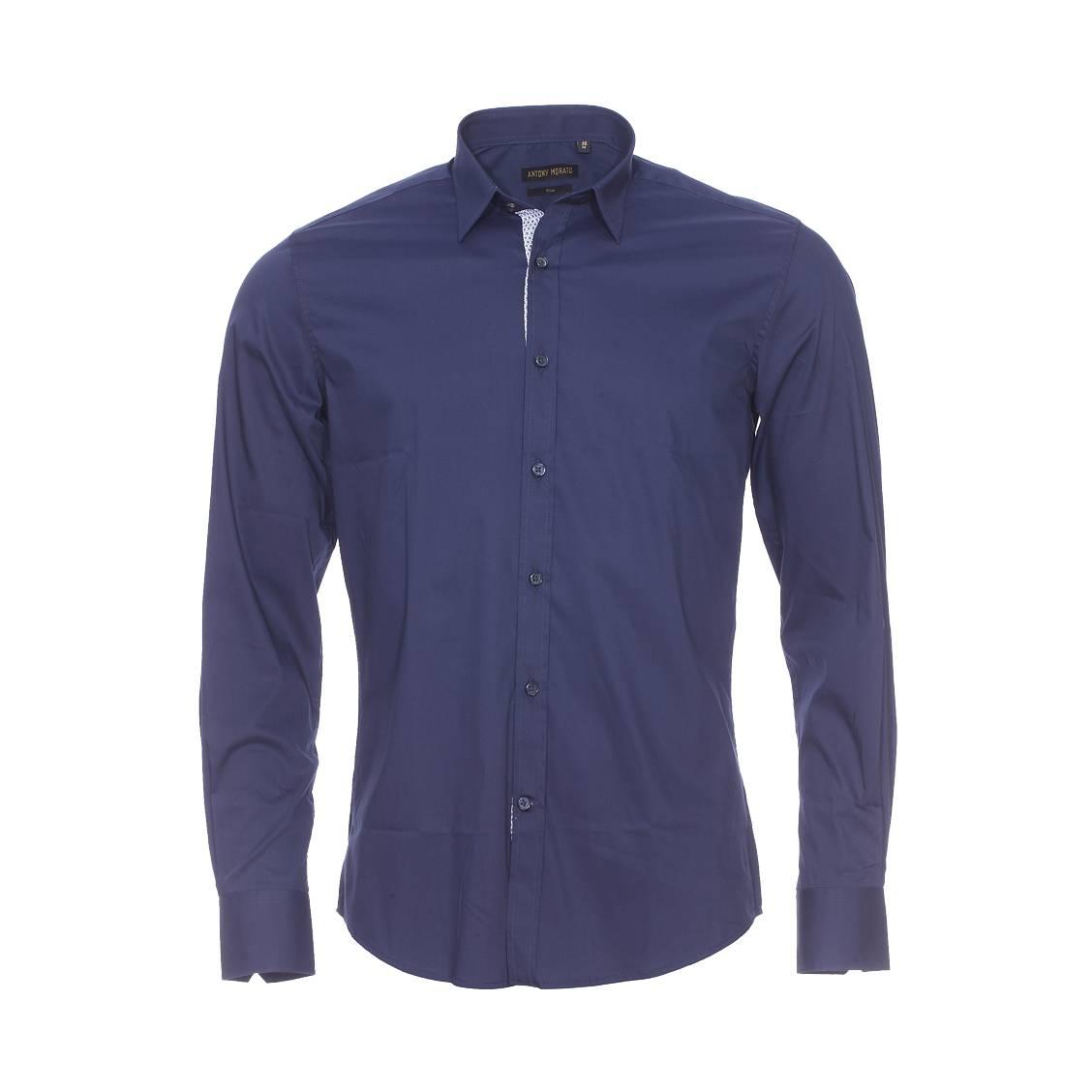 Chemise cintrée  en coton stretch bleu marine à opposition sur la boutonnière