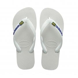 Tongs Havaianas Brasil logo blanches