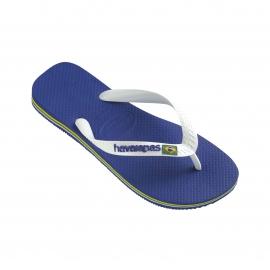 Tongs Havaianas Brasil logo bleues et blanches