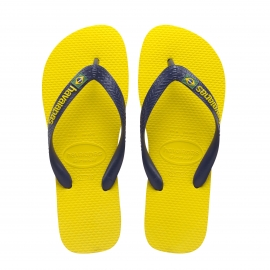 Tongs Havaianas Brasil logo jaunes et bleu marine