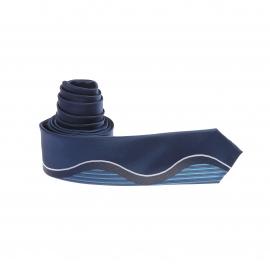 Cravate slim bleu indigo à motifs rayés bleus et gris