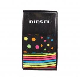 Coffret de 3 paires de chaussettes Diesel : noires à bordures colorées, noires à pois multicolores et noires à rayures multicolores