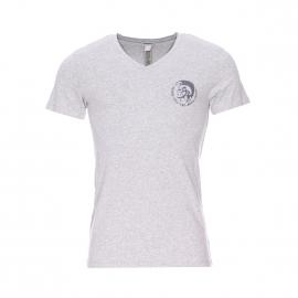 Tee-shirt col v Diesel en coton stretch gris chine floqué en gris foncé