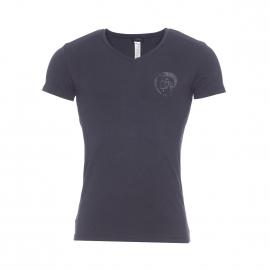 Tee-shirt col V Diesel en coton stretch noir floqué en noir