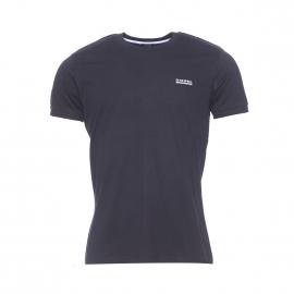 Tee-shirt Diesel en coton noir floqué à col rond côtelé