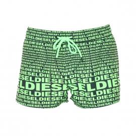Short de bain Diesel noir monogrammé en vert fluo