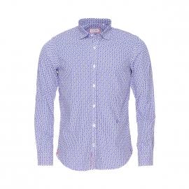 Chemise Serge Blanco bleue à motifs pois et cerises blancs