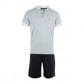 Pyjama court Eminence en jersey de coton : Tee-shirt à petit col boutonné gris et short bleu marine