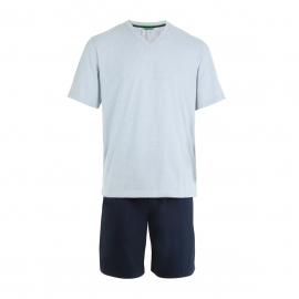 Pyjama court Eminence en jersey de coton : Tee-shirt col V gris à pois et short bleu marine