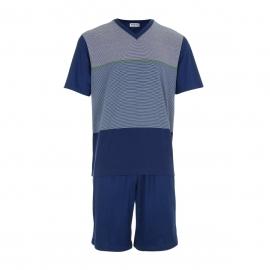 Pyjama court Eminence en jersey de coton : Tee-shirt col V bleu marine à bandes rayées et short uni bleu marine